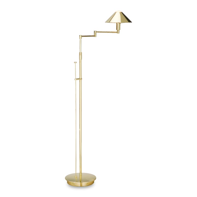 Absolute Swing-Arm Floor Lamp, Polished Brass