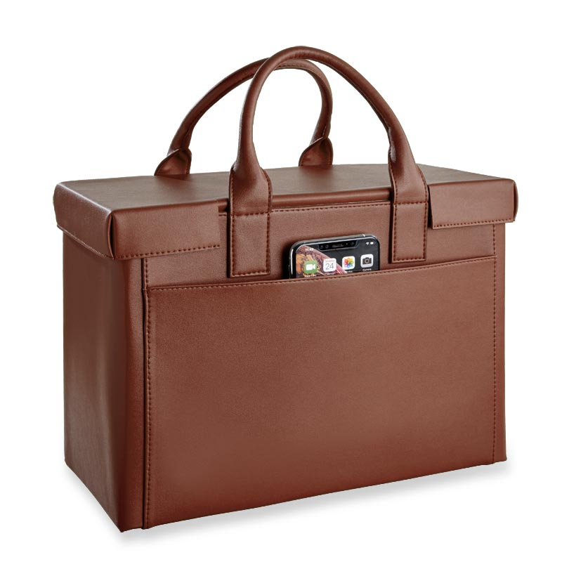LevTex™ Covered Portable File Tote Ensemble - Hickory