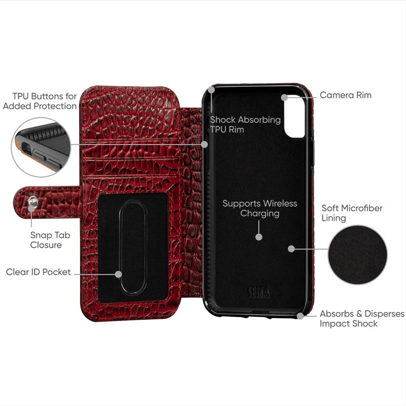Leather Wallet Book Case iPhone XS - Crimson