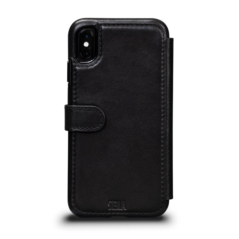 Leather Wallet Book Case iPhone XS Max - Black