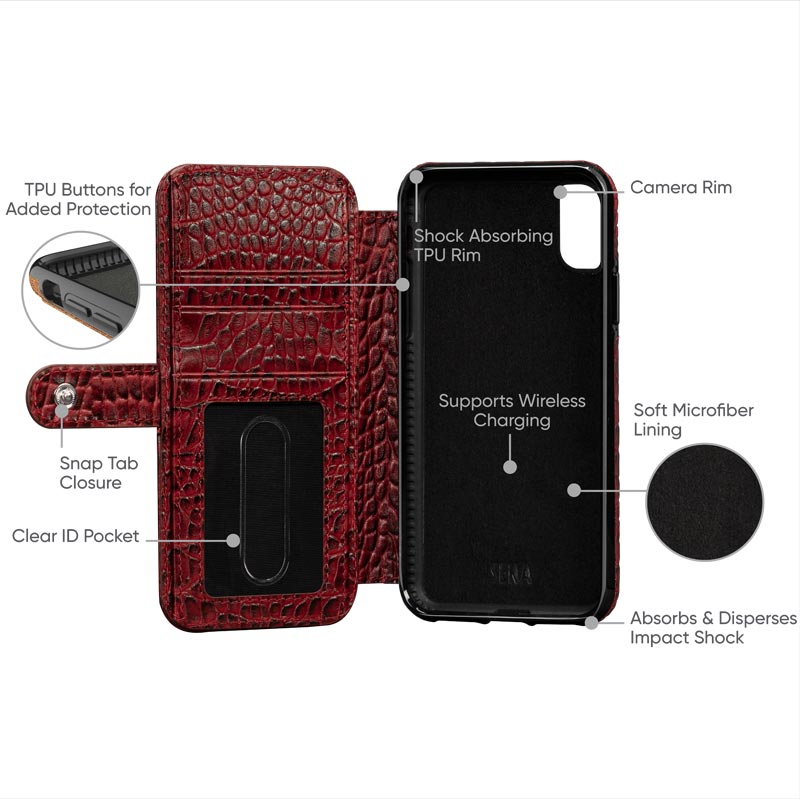 Leather Wallet Book Case iPhone XS Max - Crimson
