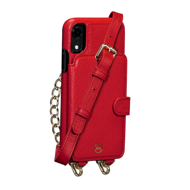 Leather Crossbody Wallet Case iPhone XR - Red