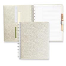 Circa® Embossed Pearl White Foldover Notebook