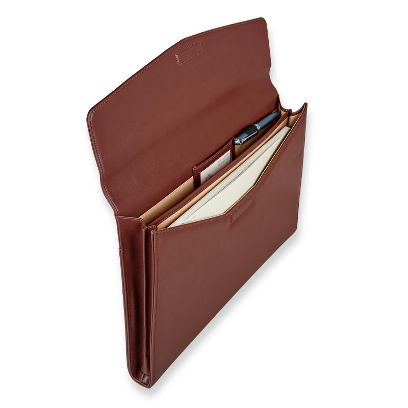 Smooth Faux Leather Dossier Folio