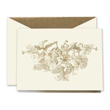 Crane Engraved Trumpeting Angels Card