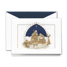 Crane Engraved Peaceful Manger Card