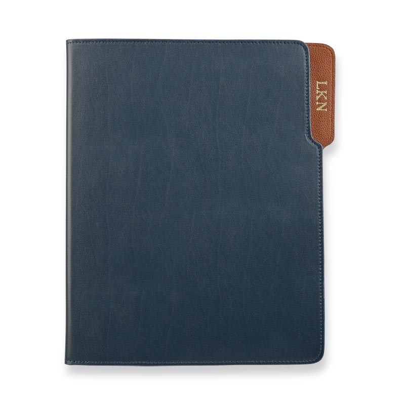 Wall Street Leather Padfolio - Navy/Tan