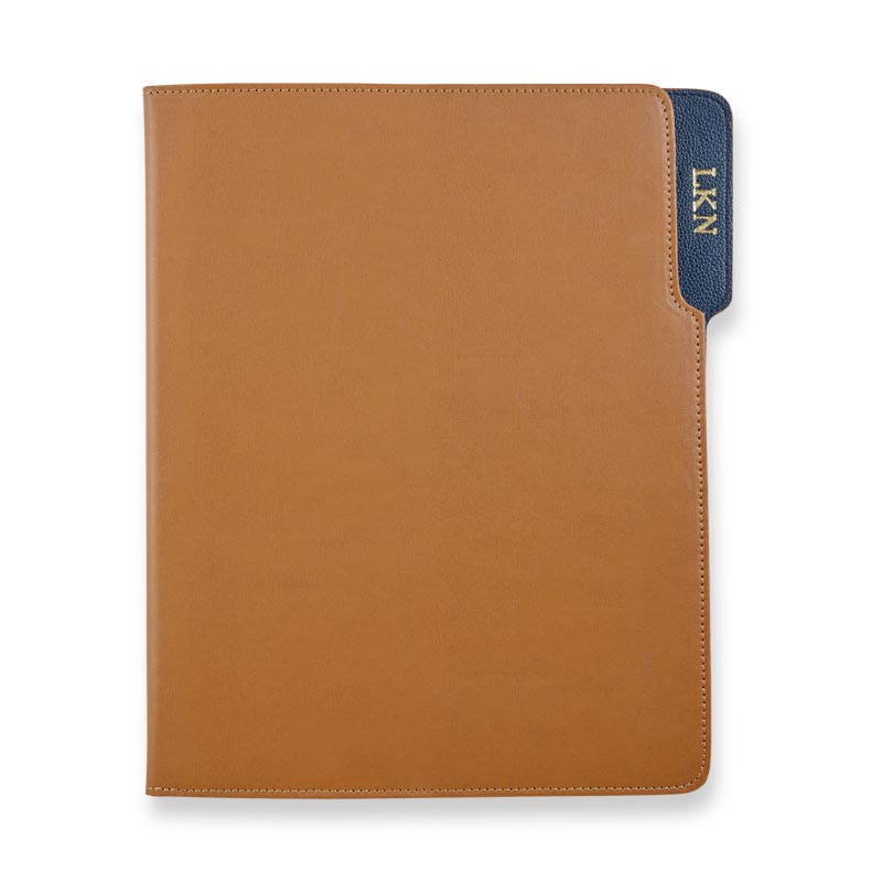 Wall Street Leather Padfolio - Tan/Navy