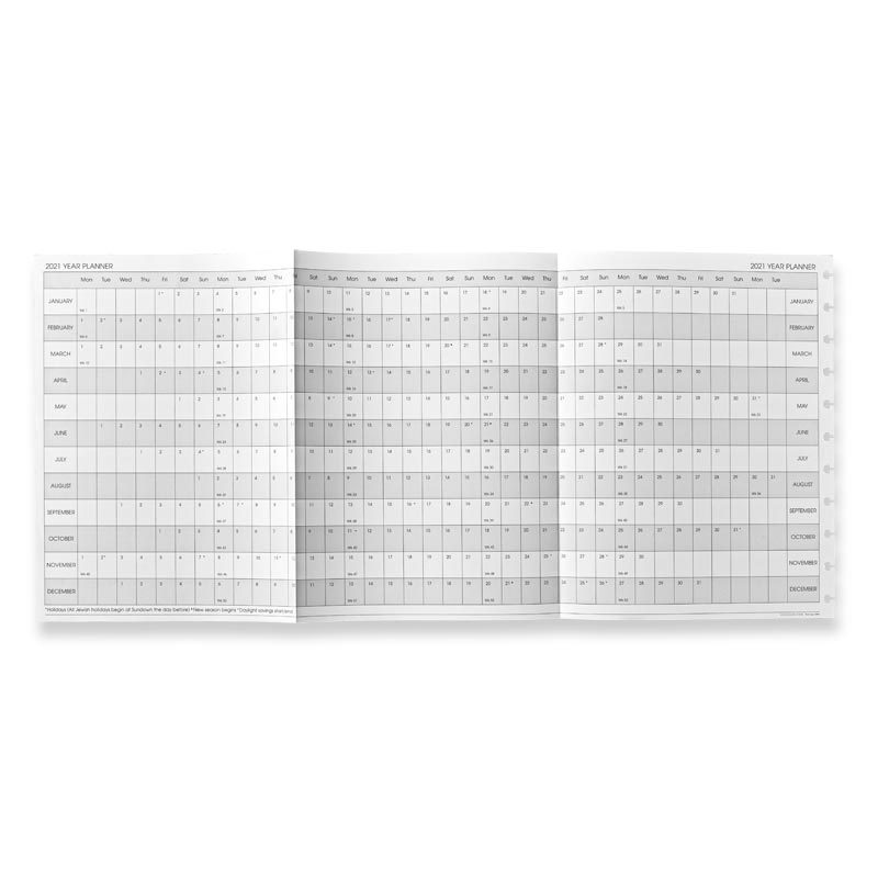 2020 Circa Monthly Tabs and Pullout Calendar, Letter