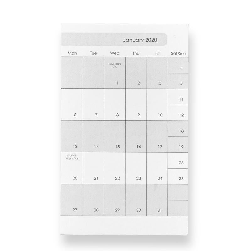 3X5 Weekly and Monthly Calendar Cards - 2020