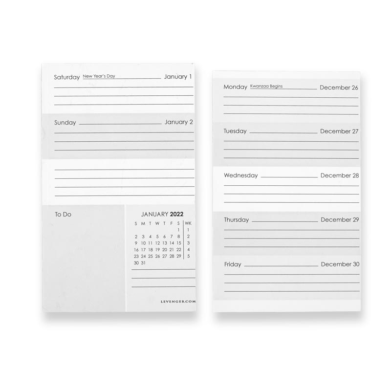 2022 Weekly and Monthly Calendar 3 x 5 Horizontal Note Cards (Set of 76)