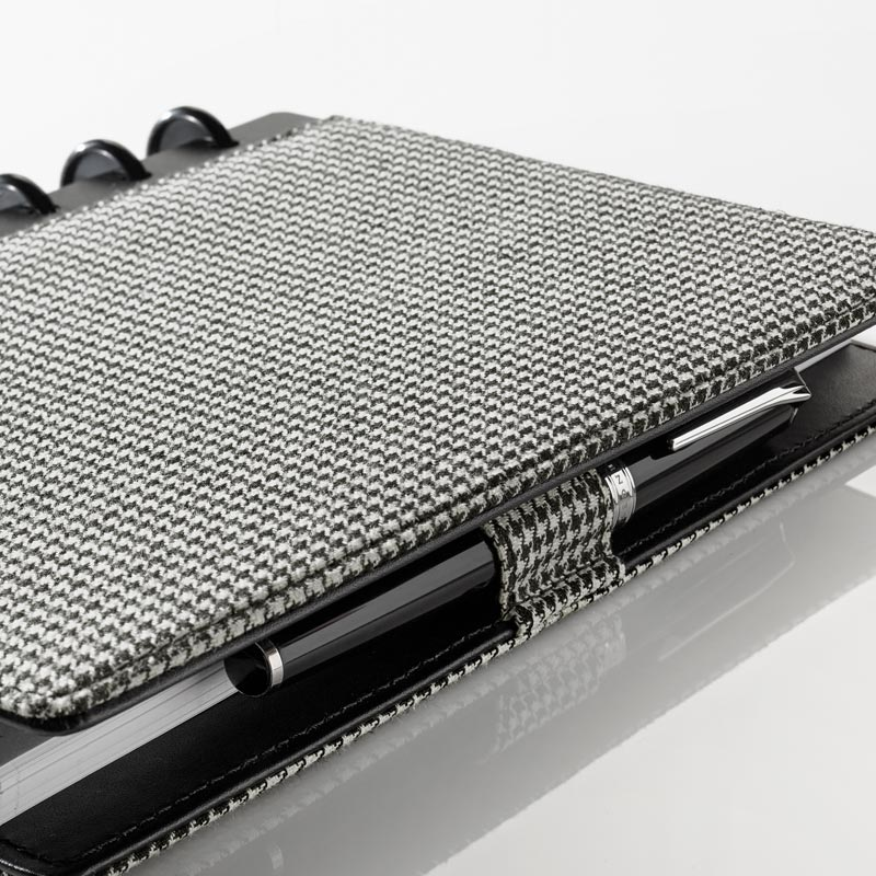 Circa® Houndstooth Bookcloth Foldover Notebook, Black/White