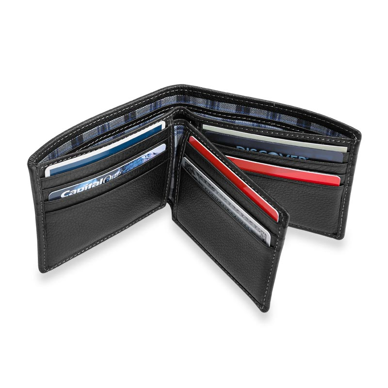 Bomber Jacket Flip ID Wallet with RFID Protection - Black