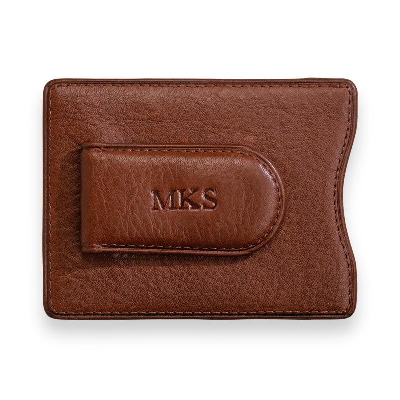 Privacy Magnetic Money Clip Wallet - Brandy