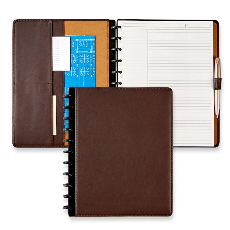 Circa® Luxe Leather Foldover Notebook in Chocolate, Letter