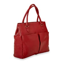 Charlotte Tote, Leather - Ruby