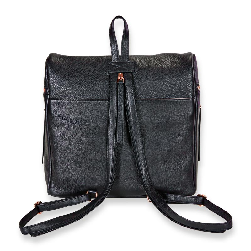 Carrie Backpack - Black with rose gold accents