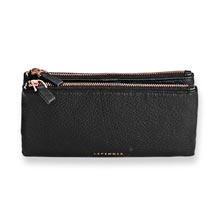 Carrie Cash and Card Clutch - Black with Rose Gold Accents