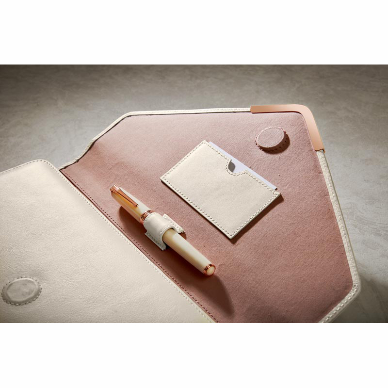 Pearl White Tri-Folio - Pen Sleeve & Business Card Holder