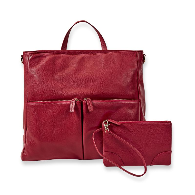 Charlotte Convertible Backpack with Pouch - Ruby