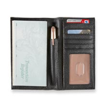 Carrie Checkbook Card Wallet - Black/Rose Gold