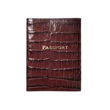 Croc Embossed Leather Passport Cover