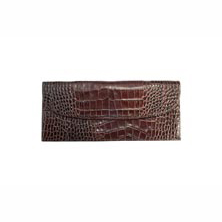 Croc Embossed Leather Ticket Wallet Holder