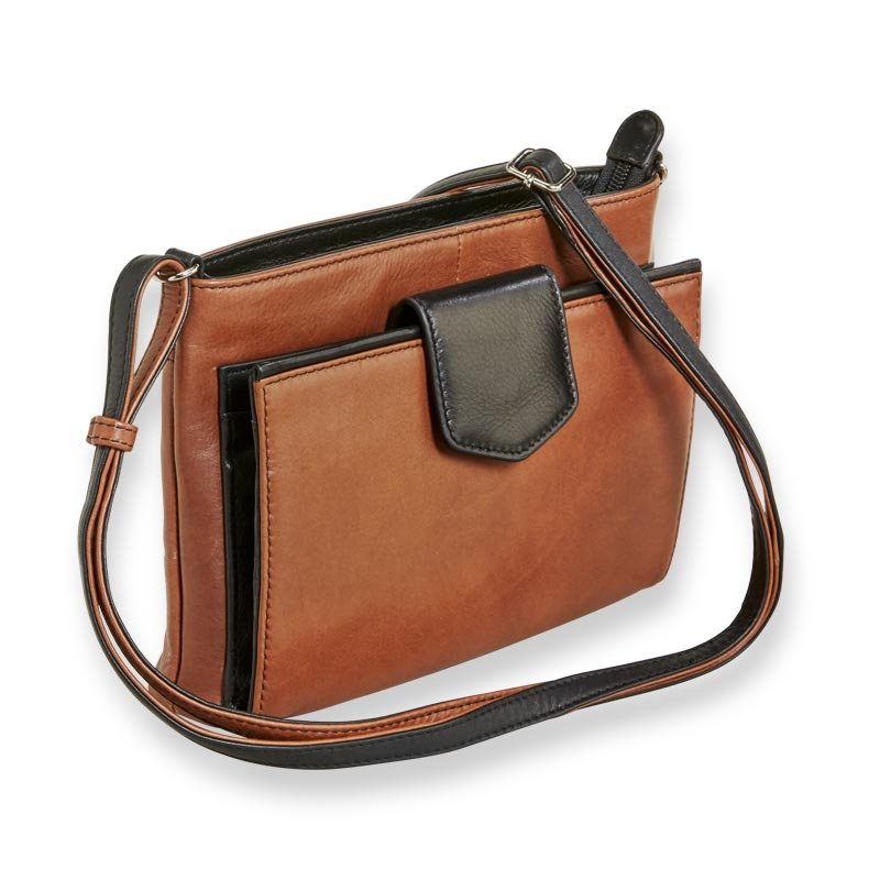 Sutton Leather Tab Front Organizer Crossbody