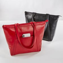 Sutton Top Zip Leather Tote