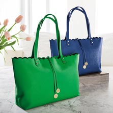 Prestige Scallop Tote - Kelly Green