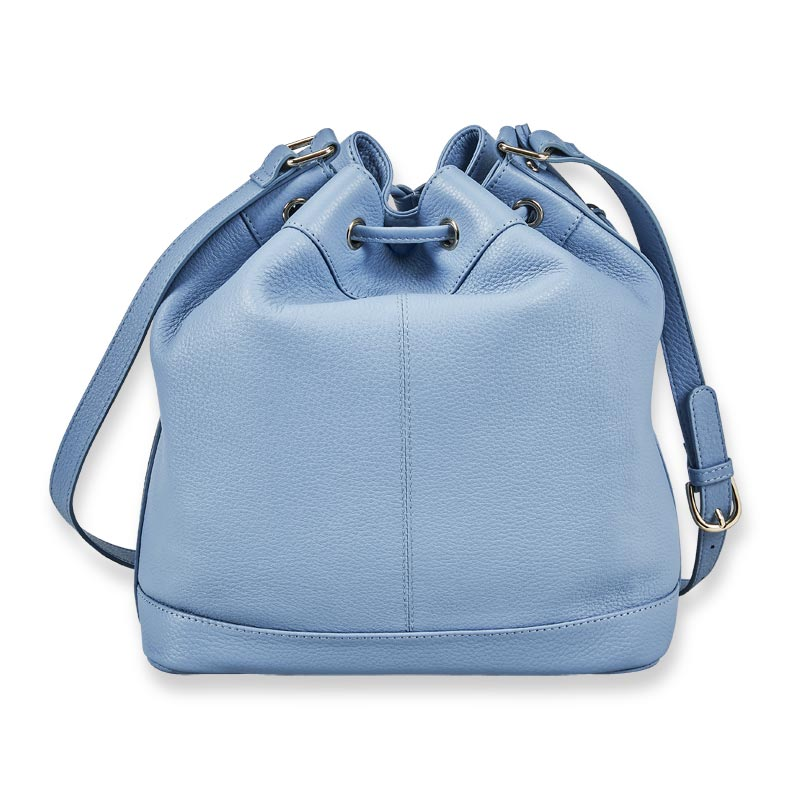 Serena Leather Drawstring Bucket Bag