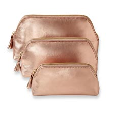 Leather Cosmetic Pouches (Set of 3)