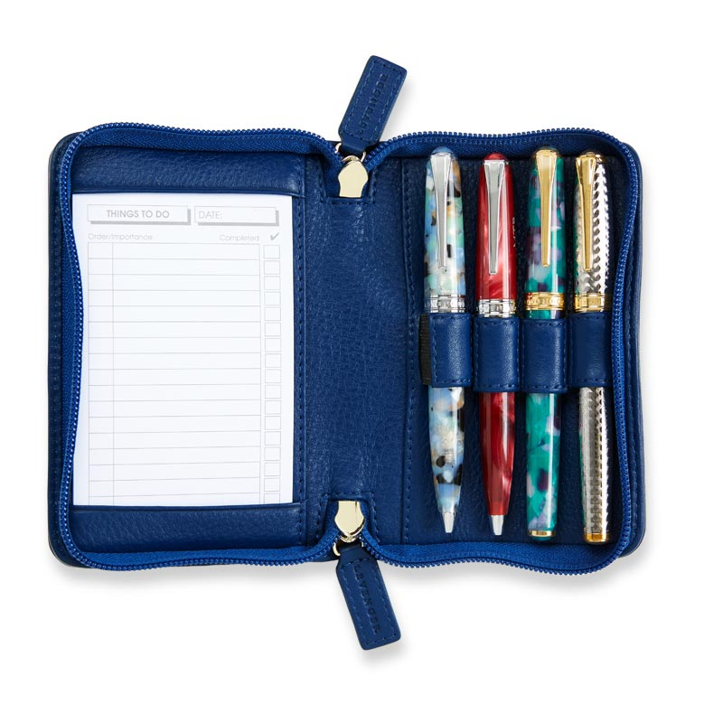 Carrie Leather Pen Case - Classic Blue