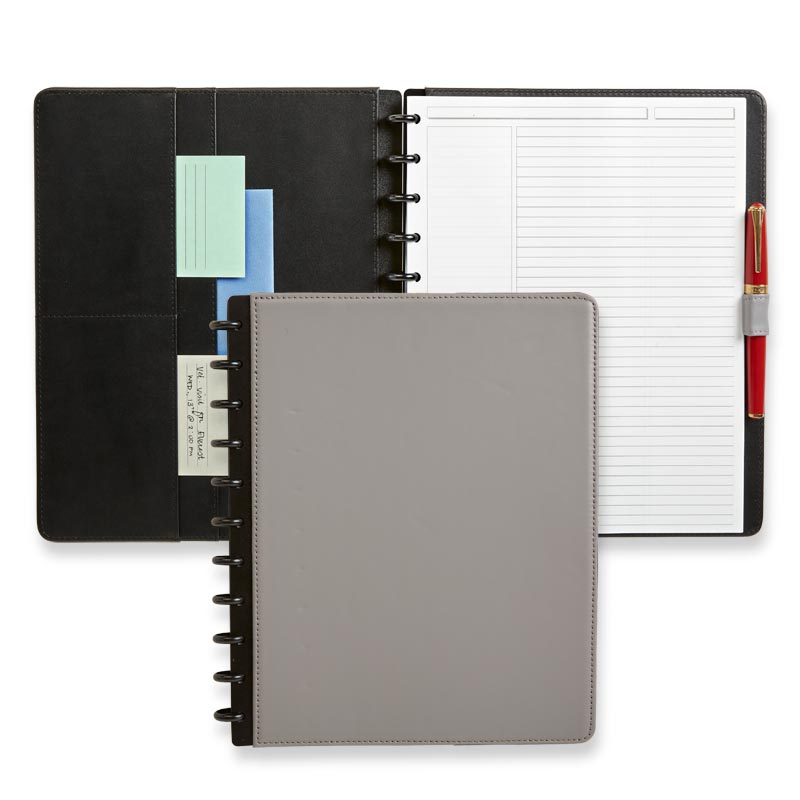 Circa Leather Foldover Notebook, LeTteR - Ultimate Grey