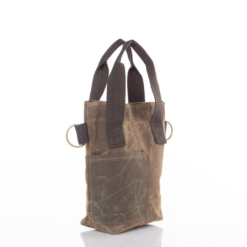Waxed Canvas Double Wine Bottle Tote
