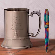 Montegrappa Fortuna Blue Blazer Ballpoint Pen with Mug