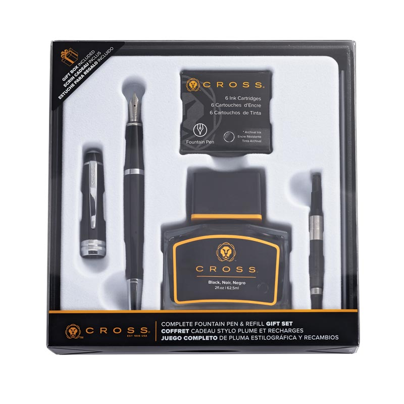 Cross Bailey Black Lacquer Fountain Pen Gift Set