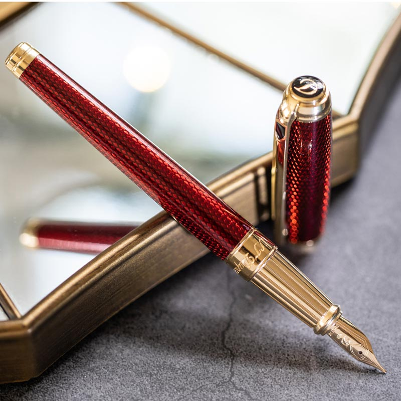 S.T. Dupont Line D Diamond Guilloche Fountain Pen