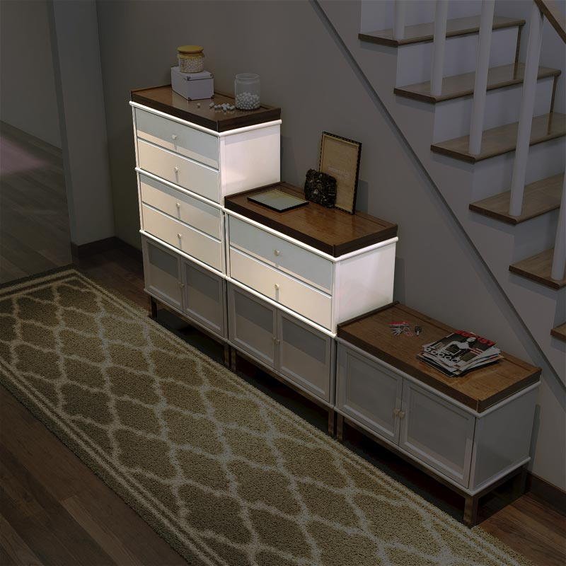 Barrister Double Drawer Section - White Birch