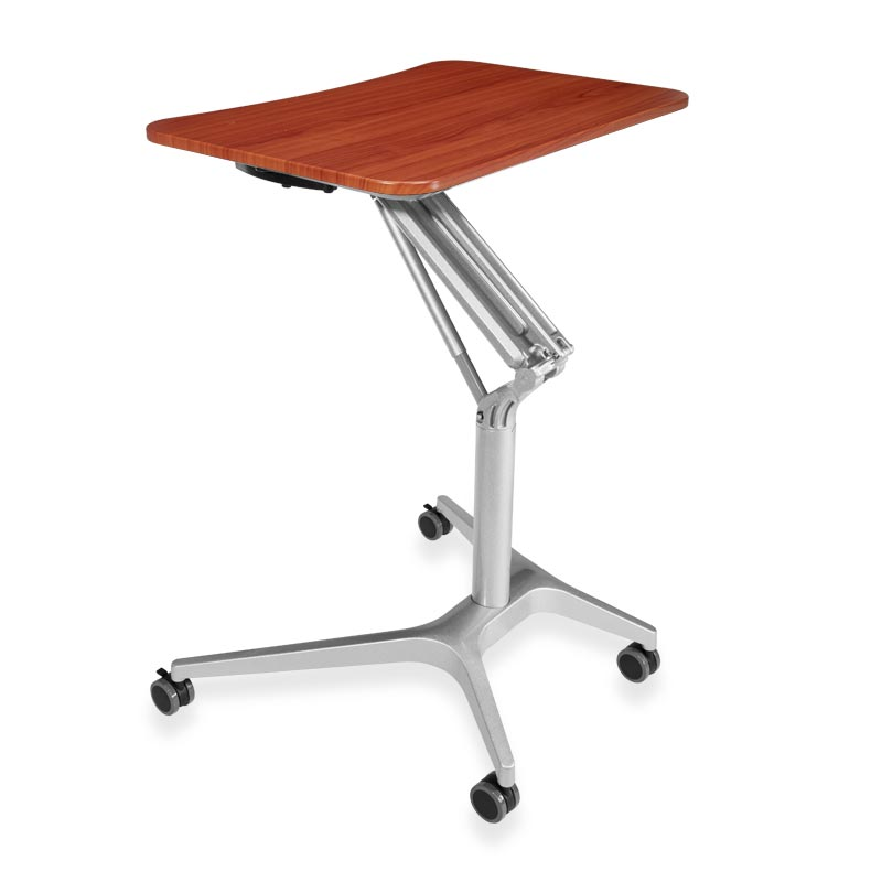 Sit-to-Stand Rolling Workstation 2.0 - Top Cherry Base Silver