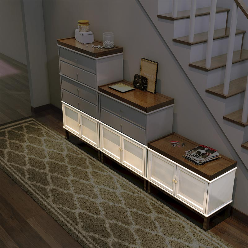 Barrister Hinged Double Door Section - White Birch