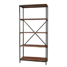Industrial Five-Shelf Bookcase