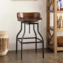 Industrial Barrel-Back Adjustable Barstool