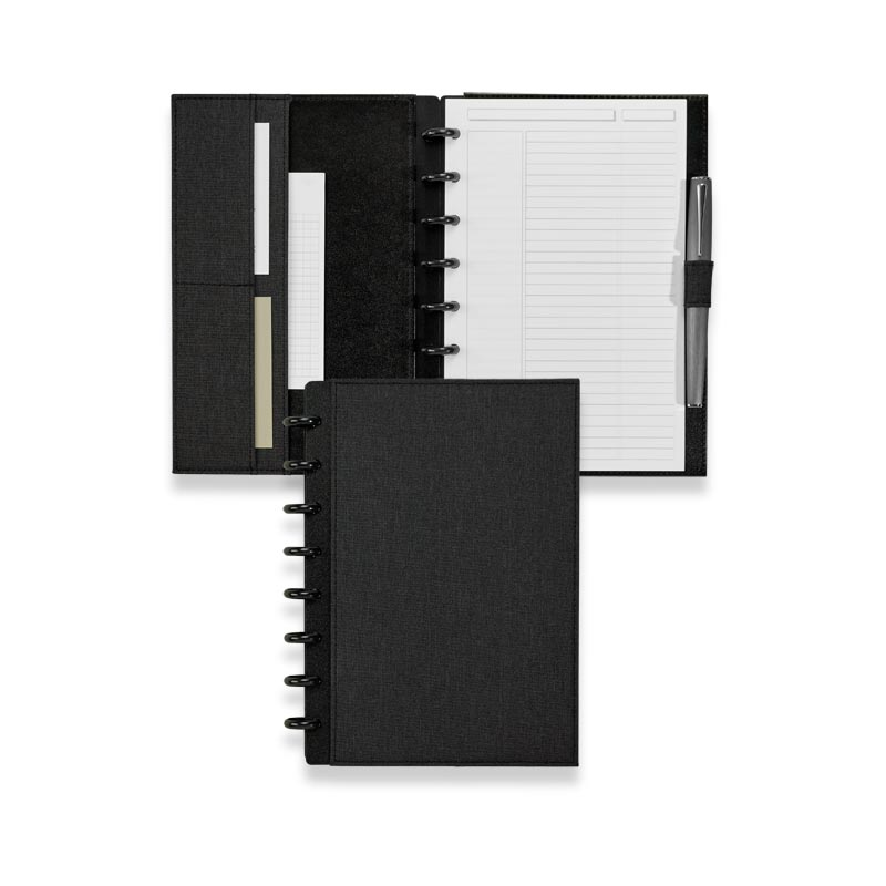 Circa Bookcloth Foldover Notebook, Black, Junior