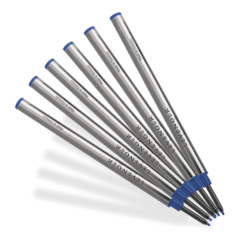 6 Levenger Fiber Tip Refills-Medium, Blue