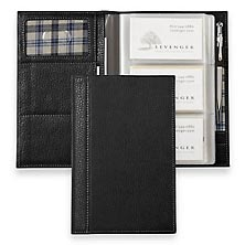 Bomber Jacket Business Card Organizer with Pocketini Clip Pen