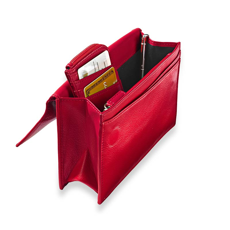 Travel Wallet & Passcase with Walletini Pen, Red