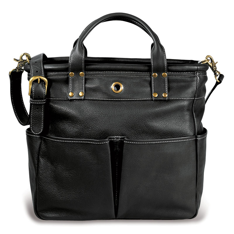 St. Tropez Leather Tote Bag, Black