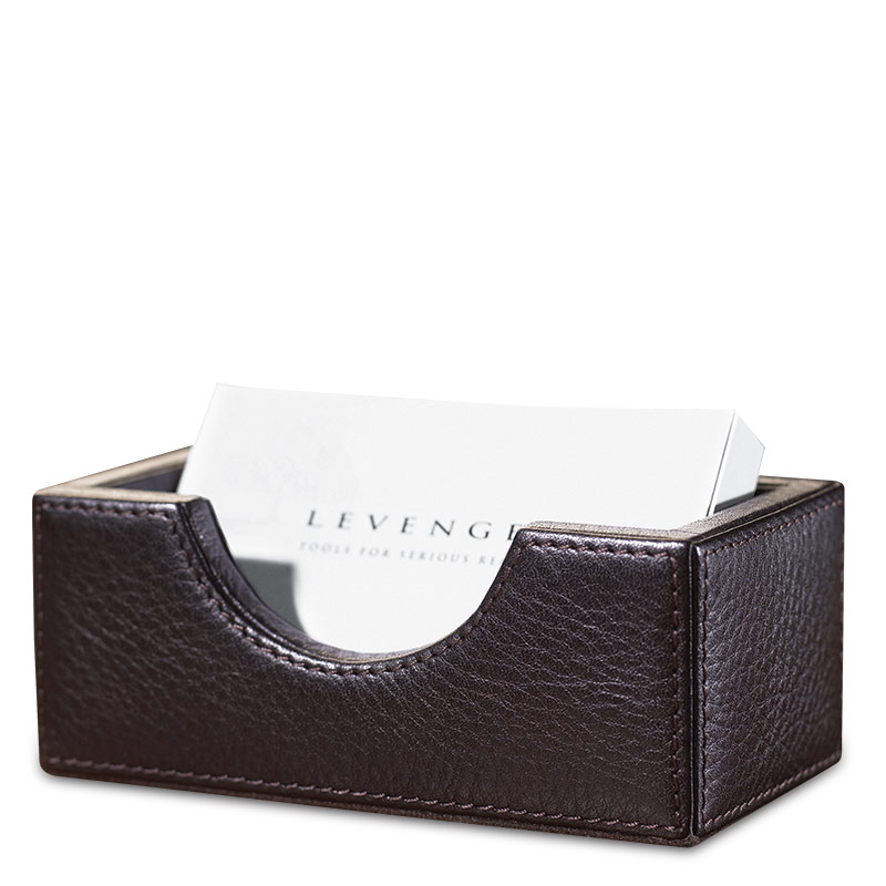 Bomber Jacket Business Card Holder - Leather Desk Accessory - Levenger
