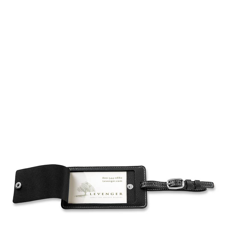 Levenger Luggage Tag- Black W/Monogram